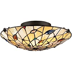 Quoizel TF1409SVB 2-Light Tiffany Flush Mount in Vintage Bronze