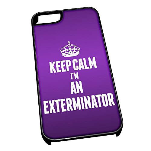 Nero cover per iPhone 5/5S 2581viola Keep Calm I m An Exterminator