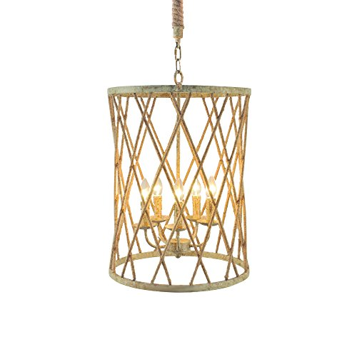 Yosemite Home Decor SC2090-5WC 5 Lights Chandelier, Wrinkle on Cream Finish, Brown