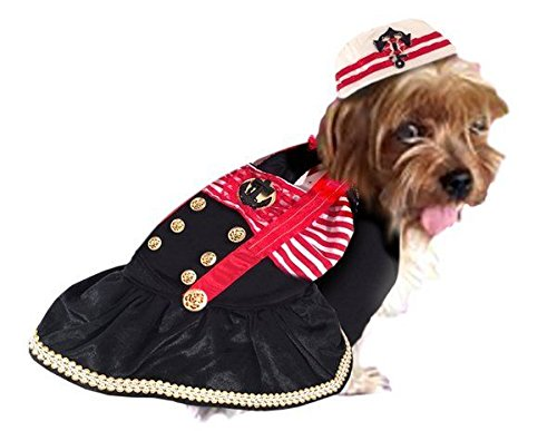 (Captain's Mate Costume For Dogs Classic Nautical Theme Sailor Outfit Ahoy Matie!(Size 6))