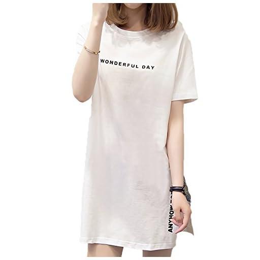 [モノア] チュニック Tシャツ レディース ファッション ロゴ プリント プルオーバー Uネック 半袖 シャツ ミニワンピ