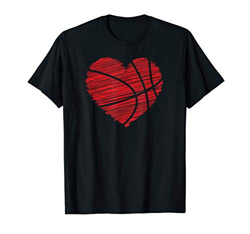 (Love Valentines Day Basketball Tshirt - Scribble Heart)