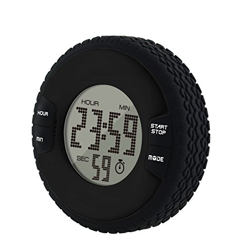 Round Digital Kitchen Timer - VPAL Small Digital Clock with Timer, Kitchen Timer, 12/24 Hours Clock with Alarm Function, Countdown and Count Up Timer, Cooking Timers, Big Digits, Loud Alarm, Magnetic Backing, Stand, Black