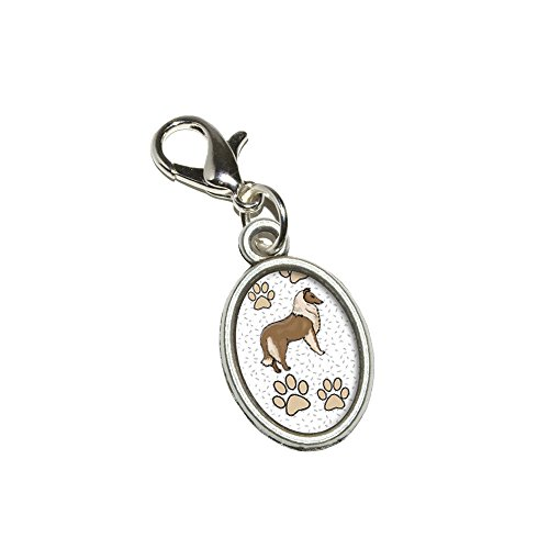 Graphics and More Collie of Radiance Antiqued Bracelet Pendant Zipper Pull Oval Charm with Lobster Clasp