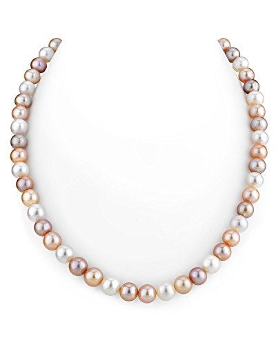THE PEARL SOURCE 7-8mm AAA Quality Round Multicolor Freshwater Cultured Pearl Necklace for Women in 18