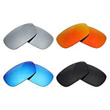 MRY 4 Pairs POLARIZED Replacement Lenses for Oakley Crosshair 2.0 Sunglasses-Stealth Black/Fire Red/Ice Blue/Silver Titanium