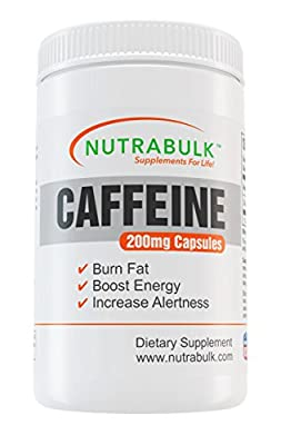 Pre-Workout Natural Caffeine - NutraBulk Thermogenic Supplement - Diet Pills + Energy + Fat Burning - 500 Count - 200mg