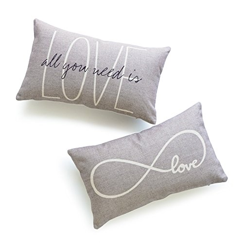 Hofdeco Decorative Lumbar Pillow Cover HEAVY WEIGHT Cotton Linen His and Her Gray Love Is All You Need Infinite Love 12''x20'' 30cm x 50cm Set of 2 by Hofdeco
