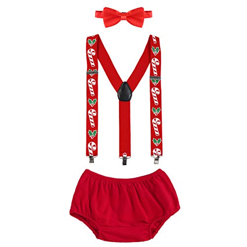 OBEEII Christmas Holiday Party Baby Toddler Boy Cake Smash Outfits Suspender Bottoms Tie Headband Dress Up Fancy Costume Christmas Candy Cane ()