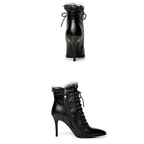 toe 9CM Shoes 4U Boots Leather Black Heels Ankle Genuine Shoeslace Boots High Lace Martin Pointed Best Women's EwHnWqOE7