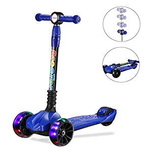 UHINOOS Kick Scooter for Kids&Toddlers-4 Adjustable Height 3 Wheel Scooters for Kids-Flashing Wheels Foldable Kids Scooter Best Gifts for Children from 3-12 Years (Blue)