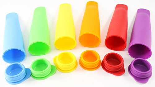 Silicone Ice Pop Molds Popsicle Maker 6 Pcs Set - Make Popsicle's, Ice Pops, Juice Bars, Yogurt-sorbet, Sherbet Pops, Frozen Snacks, Desserts. Food Grade Molds for Baby by Perfect Life Ideas ()