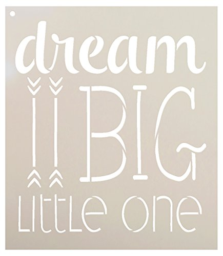 Dream Big Little One Stencil by StudioR12 | Inspiration Nursery Word Art - Reusable Mylar Template | Painting, Chalk, Mixed Media | Use for Wall Art, DIY Home Decor -CHOOSE SIZE (10
