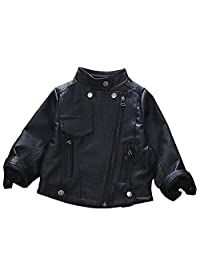 ARAUS Jacket Baby Faux Leather Long Sleeve Zip up Coat Outerwear for 1-6T