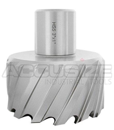 Accusize Industrial Tools H.S.S. Annular Cutter, 3'' Cutting Diameter x 1'' Cutting Depth, 1-1/4'' Weldon Shank, Ansi Standard, 2080-2053