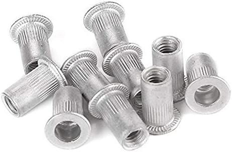 YJZG 25pcs M5 Flat Head Aluminum Rivets Nuts Threaded Inserts Nutserts Color : Silver