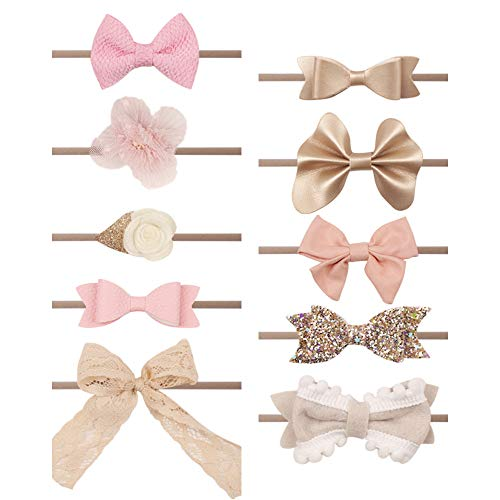 Subesty Soft Nylon Headband Bows For Toddler Baby Girls Infant Newborn (10 pcs baby nylon headband) (Rose Baby Headband)