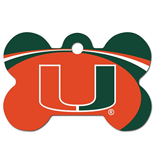 Personalized Laser Engraved 1.5 x 1 Inch Miami Hurricanes Bone Shaped Pet ID Tag - Free Tag Silencer