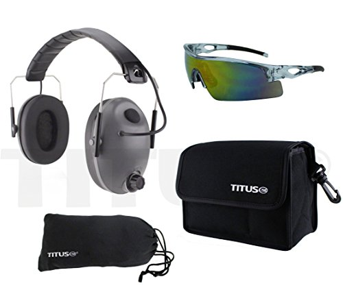 Glass Level Standard (TITUS Top Combos: Safety Earmuffs & Glasses (Grey Electronic - Slim, Z87.1 Full-Spectrum All-Sport))