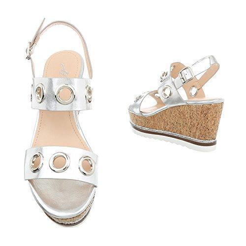 Damen Schuhe Sandaletten Keil Wedges Pumps Silber