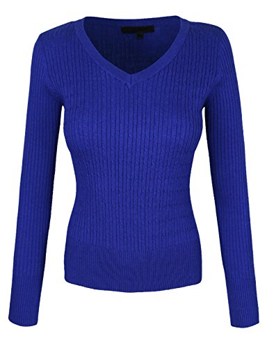 makeitmint Women's Basic V-Neck Twisted Cable Knit Pullover Sweater [S-3XL] SMALL YISW0021_21ROYALBLUE -