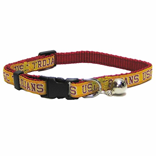NCAA CAT COLLAR. - USC TROJANS CAT COLLAR. - Strong & Adjustable COLLEGE Cat Collars with Metal Jingle Bell (Usc Metal)