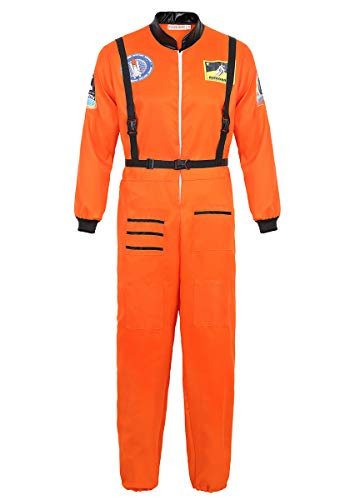 frawirshau Astronaut Costume Adult Role Play Cosplay Costumes Spaceman Flight Jumpsuit Space Suit for Men Orange 2XL