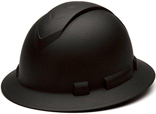 Full Brim Hard Hat, Adjustable Ratchet 4 Pt Suspension, Durable Protection safety helmet, Graphite Pattern Design, Black Matte, by Tuff America by Tuff America (Image #2)