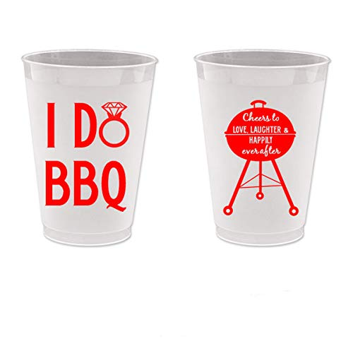 Mandeville Party Company I Do BBQ, Wedding Shower, Frost Flex Plastic Cups (10 Cups)