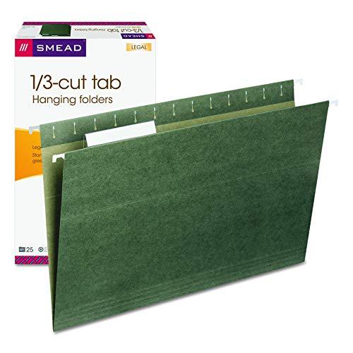 Smead Hanging File Folder with Tab, 1/3-Cut Adjustable Tab, Legal Size, Standard Green, 25 per Box (64135) (Renewed)