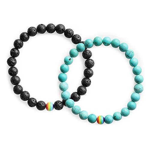 Bead Set Bracelet Stretch (Me&Hz Gay Pride Bracelets for Men- Distance Bracelet Black &Turquoise &Rainbow 8mm Beads/Stretch LGBT Flag Bracelets Set- Gifts for Gay Couples)