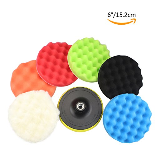 "GAMPRO 8pcs 6 inches Compound Drill Buffing Sponge Pads Kit for Car Sanding, Polishing, Waxing, Sealing Glaze (6 Polishing Pads+1 Woolen Buffer+1 Thread Drill Adapter with Shank)(6"")"