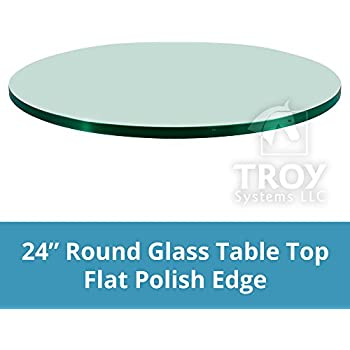 Dulles Glass And Mirror Glass Table Top, Flat Polish Edge, Tempered Glass,  24