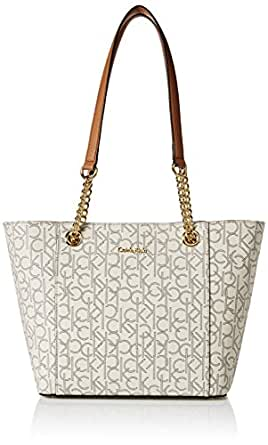 Calvin Klein Women's Monogram Chainlink Tote Bag, Almond Khaki/Buff, One Size