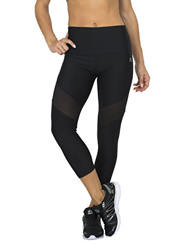 RBX Active womens High Waisted Ventilated Mesh Capri Leggings,Black,Large