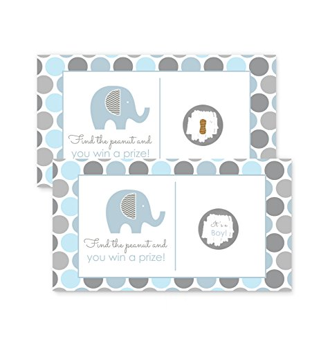 Elephant Baby Shower Scratch Off Party Game 28 pc. Blue & (Elephant Baby Shower Theme)