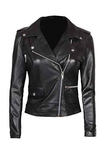 Black Womens Leather Jacket - Genuine Lambskin Asymmetrical Jacket Women | Amber, M