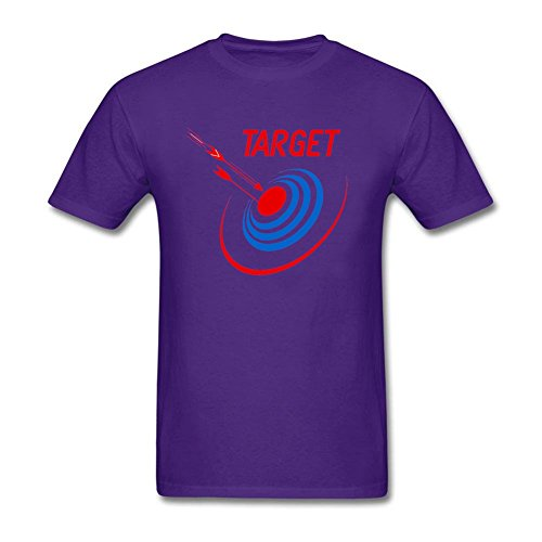 Mens Arrow On Target Archery Shooting Round Collar Purple Tee Shirt XS