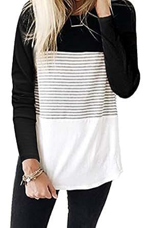 ALBIZIA Women's Long Sleeve Round Neck Triple Color Block Stripe T-Shirt S Black