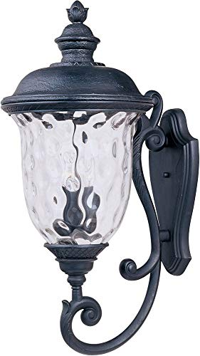Maxim 3425WGOB Carriage House DC 3-Light Outdoor Wall Lantern, Oriental Bronze Finish, Water Glass Glass, CA Incandescent Incandescent Bulb , 60W Max., Damp Safety Rating, Standard Dimmable, Frosted Glass Shade Material, Rated Lumens