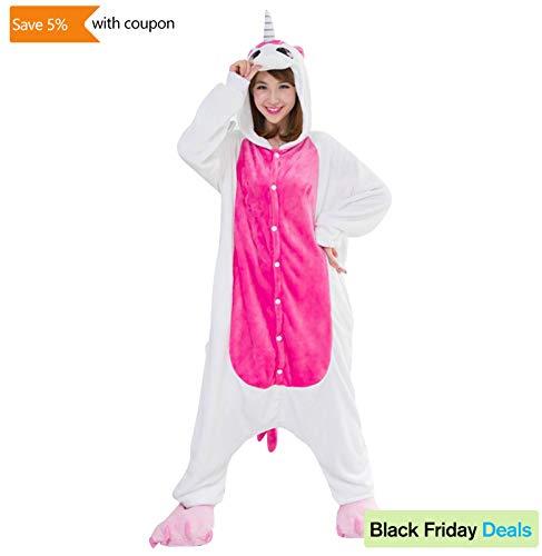 OVOV Unicorn Cosplay Costume Animal Onesie Pajamas Sleepsuit for Party Halloween Christmas Rose XL -