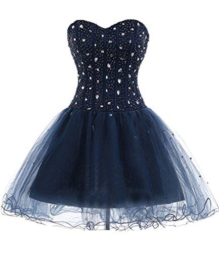 ivyd ressing Mujer Sweetheart Mini Forma de Corazón piedras Organza Vestido de cóctel Prom vestido fijo para vestido de noche Tintenblau