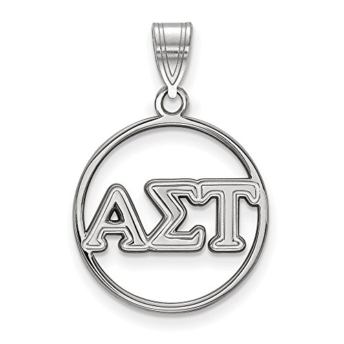 925 Sterling Silver Officially Licensed Alpha Sigma Tau Small Circle Pendant (27 mm x 18 mm)