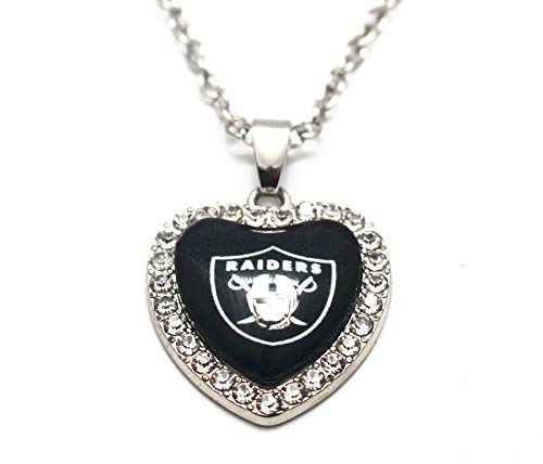 BAS Oakland Raiders Rhinestone Glass Heart Necklace 20 Inch Alloy Chain ()