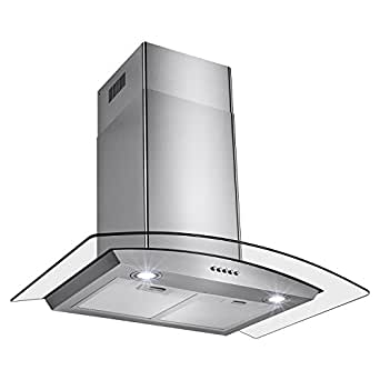 "Oliver Smith Stove Hood 30"" Inch - European Style Range Cooker Convertible Wall Mount - Stainless Steel Tempered Glass, Lights, Push Button Controls, Mesh Filter, 3 Speed Kitchen Appliance"
