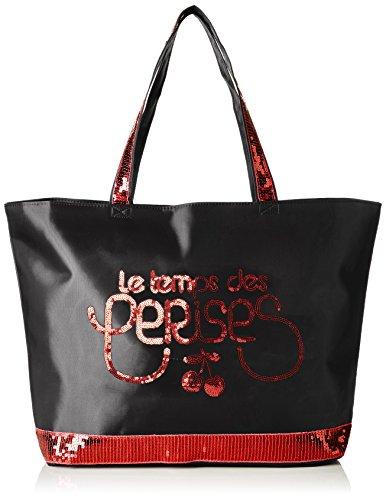 Le Temps des Cerises Glitter 5 - Bolso de tela para mujer Negro Noir (Noir/Rouge 9P01) Taille Unique