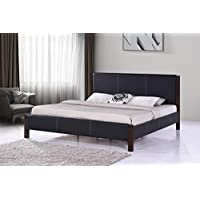 MALKO Black Leather Platform Bed with Wood Posts M5000-K