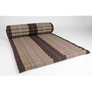 Leewadee Roll Up Thai Mattress, 79x30x2 inches, Kapok Fabric, Brown, Premium Double Stitched