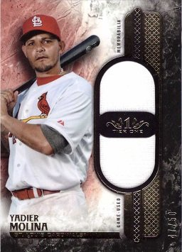 2016 Topps Tier One Dual Relics #T1DR-YM Yadier Molina Game Worn Jersey Baseball Card - Only 50 made!