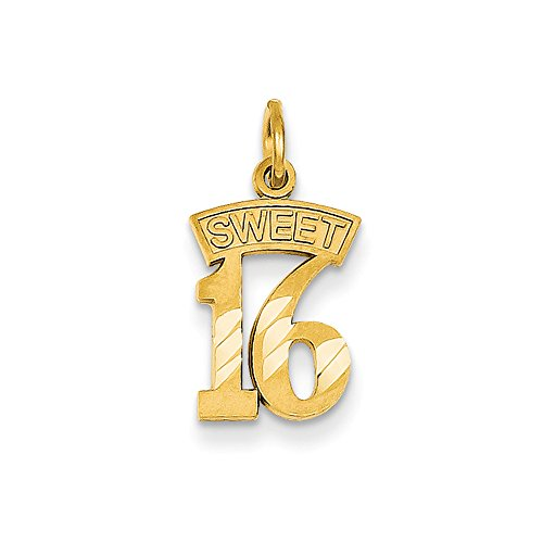 14k Yellow Gold Sweet 16 Charm or Pendant, 10mm 14k Yellow Gold Sweet